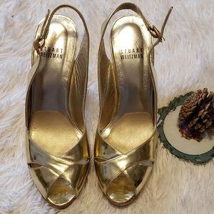 Stuart Weitzman Gold SlingBack Sandals Cork Heels